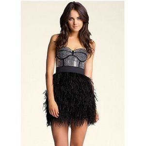 NWT Bebe Isis Studded Feather Black Dress